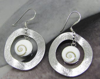Earrings Lucia eye on Silver (brushed Aspect)