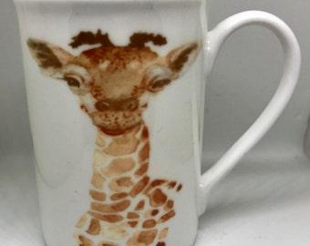 Giraffe watercolour fine Bone China mug, Boxed , gift, hand printed in the UK limited print personalised