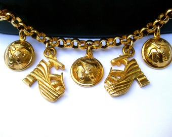 SALVATORE FERRAGAMO Italy Stylish Gilt Metal Charm Belt c 1980s