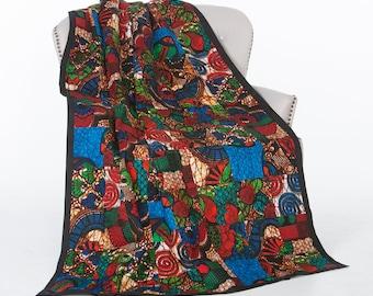 Patchwork Quilt-African Wax Quilt-Kitenge Quilt-Wax Print Quilt-Red Quilt-Orange Quilt-Lightweight Quilt-Queen Size Quilt-Fair Trade