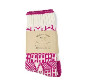 Cashmere knitted socks - fairisle pattern - Luxury socks - Ivory pink socks - Hebden Houses pattern - machine knitted