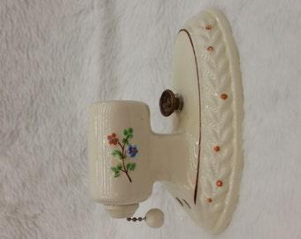 Floral porcelain wall sconce