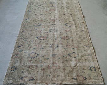 5'x9' Oushak Rug, Turkish Distressed Rug, Low pile Rug, Large Area Rug