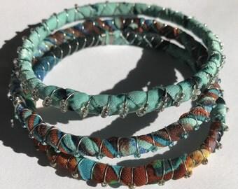 Blue, brown, cloth bracelets, stack beaded bangles