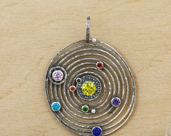 Solar system sterling silver pendant necklace, Celestial necklace, Planets, Astronomy pendant, Galaxy necklace, Constellation Necklace,