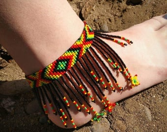 Rastafarian beaded anklet, anklets,beaded anklets, Rastafarian jewerly