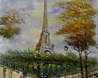 Geniun Oil painting Paris Street Scene & Eiffel Tower canvas Wall Decor Home Bedroom Paintings