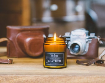 Leather - 9oz Pure Soy Wax Candle in Amber Jar with Lid