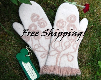 Felted wool  winter mittens_5