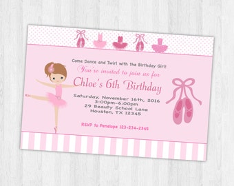 Ballet invitation, Ballerina invitation, Ballerina invites, Birthday Party Invites, Ballet Birthday Party, Ballerina Party Invitation