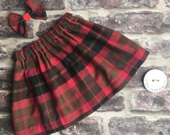 Girls tartan skirt/handmade baby skirt/tartan skirt/red tartan skirt skirt and bow set/cute girl outfit/winter baby skirt/baby clothes