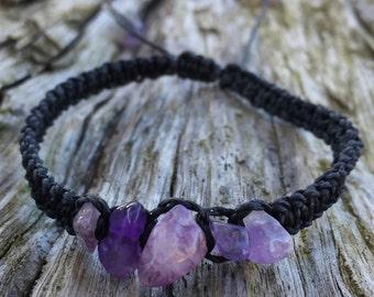 Amethyst Chip Macrame Bracelet / Amethyst Bracelet / Crystal Chip Bracelet / Macrame Bracelet / Crystal bracelet / Crystal Hemp Bracelet