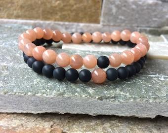 Partner bracelets bracelet set him and Onyx Sonnenstein 6mm long distance relationship