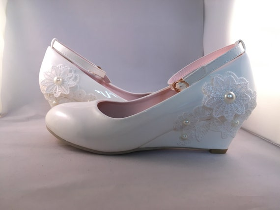 Bridal Shoes Wedding Shoes White Lace Wedge Heels
