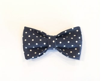 Classic Navy Bow Tie with White Dots
