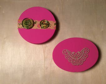 Pink Wooden Magents set of 2