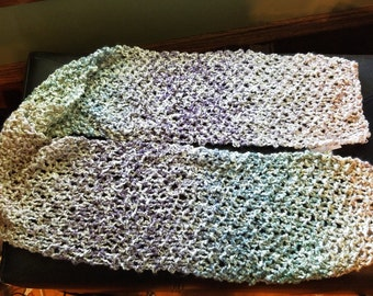 Multi-Colored Moss Stitch Knit Scarf