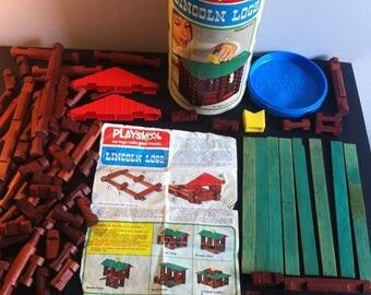 Playskool Vintage Lincoln Logs - Pioneer set, building toy set. 1970's.