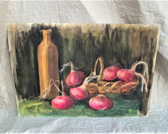 Vintage French Pastel, french art, still life art, vegetable paintings, 40's art, kitchen decor