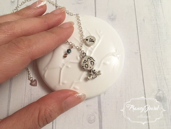 Baptism, newborn charm, baby boy, baby charm, custom necklace, personalized initial, Swarovski crystal, silver necklace, made in Italy