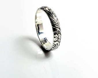 Purity Ring, Promise Ring for Her, Floral Promise Ring Band, True Love Waits, handmade jewelry