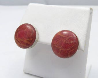 Vintage Sterling Silver Southwestern Red Sponge Coral Stud Earrings