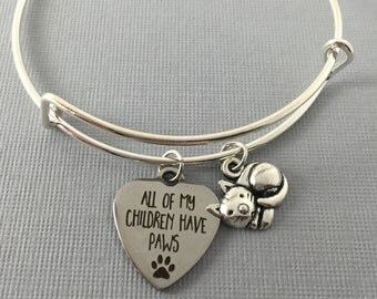 Cat - Cat Jewelry - Cat Lover Gift - Charm Bracelet - Cat Bracelet - Bangle Bracelet - Gift for Her - Valentine Gift - Cat Charm Bracelet