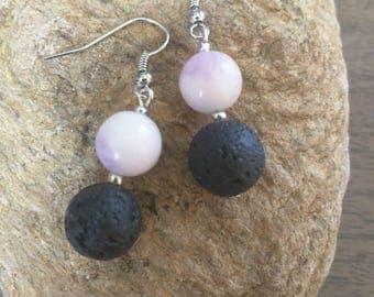 Black lava earrings