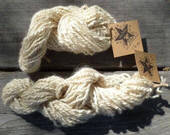 Handspun supersoft 2-ply Ivory Wensleydale Wool Yarn
