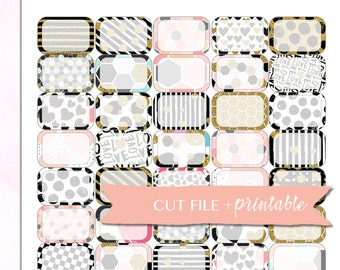HALF BOX Planner STICKERS, Half Box Printable, Basic Functional Stickers, Black and Gold Stickers, ec Printable Half Boxes, instant download