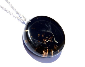 SALE 10% OFF Dandelion necklace, real dandelion seed resin pendant, wish necklace, one of a kind, resin jewellery