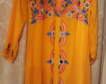 Xl Chiffon Yellow Flour Lenght Kaftan Dress/ Embroidered Flowered Desined Kaftan