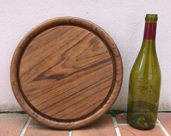 ANTIQUE VINTAGE FRENCH bread or chopping cutting board wood round 362