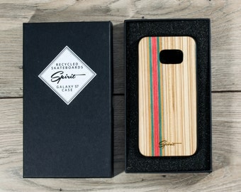 Samsung Galaxy S7 - Recycled Skateboard - Wooden Samsung Case - Skate Gift - Red - Natural - Boyfirend Gift - Wood Galaxy S7 - ONLY 6 PIECES