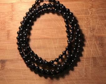 Long, double-wrap beaded neclace- black, wood