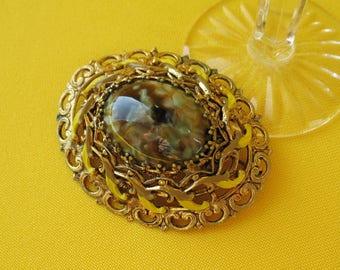Vintage Brooch CZECH glass jewelry pin