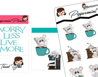 Cute little Mouse and Coffee Planner Stickers #265