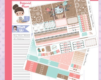 H Planner Cupcake Weekly Stickers #39