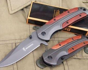 Knife Folding Pocket BROWNING blade steel handle steel/wood 11.5 cm 9 cm