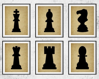 Chess Art, Chess Print Set, Panel Art,  Board Game Art, Game Room Wall Art, Game Room Art, Game Room Decor, Chess Player Gift, Gifts for Him