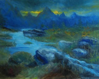 oil painting // landscape dark river // artistic work of art // hand-painted impressionism skyrim art