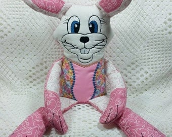 Bunny Sitting, Shelf Sitter Bunny, Pink Stuffed Bunny, Embroidered Bunny, Weighted Bunny, Pink and White Bunny Homemade Bunny, Sitting Bunny