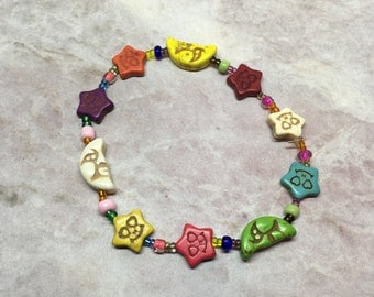 Colorful Moons & Star Bracelet