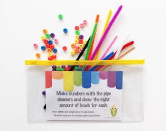 Colours Busy Bag - Preschooler Gift - Activity Kit - Educational Toys - Toddler Colours - Threading Beads - Numbers 1-10 - Counting - Corn