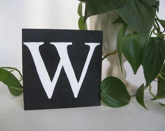 Monogram Letter, custom black and white hand painted wood sign