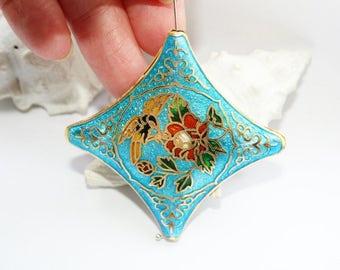 Necklace, enamel bead, floral design, light blue, sky blue, vintage style, 40 X 40 mm