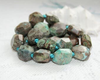 Extruded goods, rhyolite gems with turquoise, 16-17 mm, gemstone, turquoise.