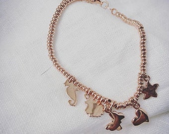 3 mm rondelle bracelet and silver charms Rosé