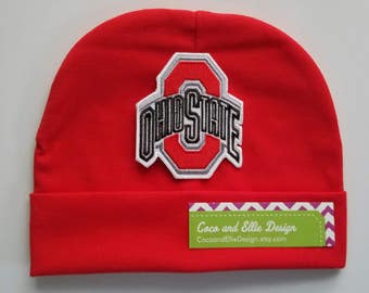 ohio state red hat-OSU infant hat-Ohio state beanie for infant-ohio state cap for baby-buckeye hat for infant-ohio state infant hat