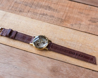Sale ,Leather Watch Strap 20mm,  Vintage Style // brown Color Full Grain Soft Leather // Made to Order